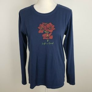Life is Good Blue Long Sleeve T-Shirt Floral
